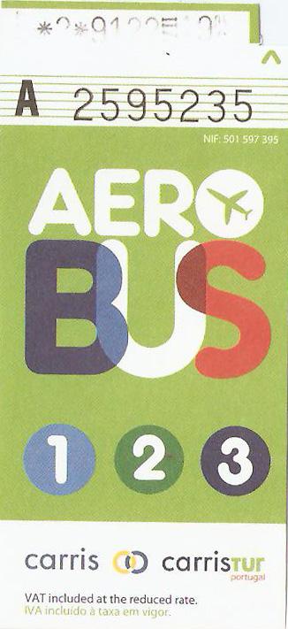Bilhete de ônibus do aeroporto de Lisboa para o centro da cidade