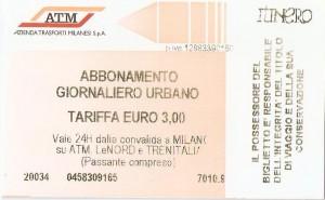 bilhete de bonde / metrô Milão