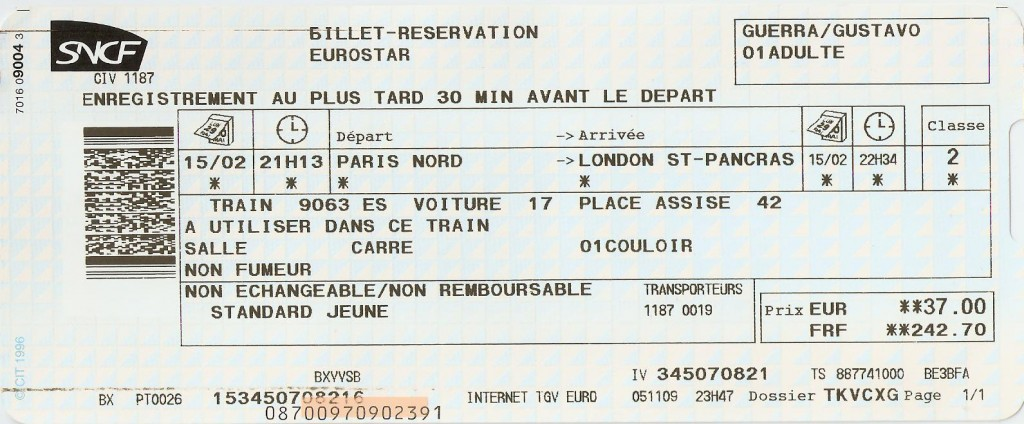 Eurostar Paris x Londres