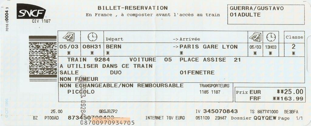 TGV Lyria Berna x Paris