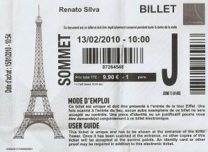 Bilhete Torre Eiffel