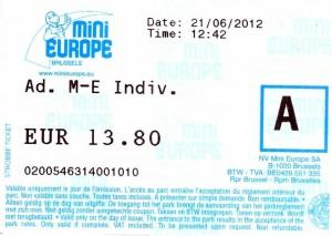 Bilhete do Minieurope em Bruxelas