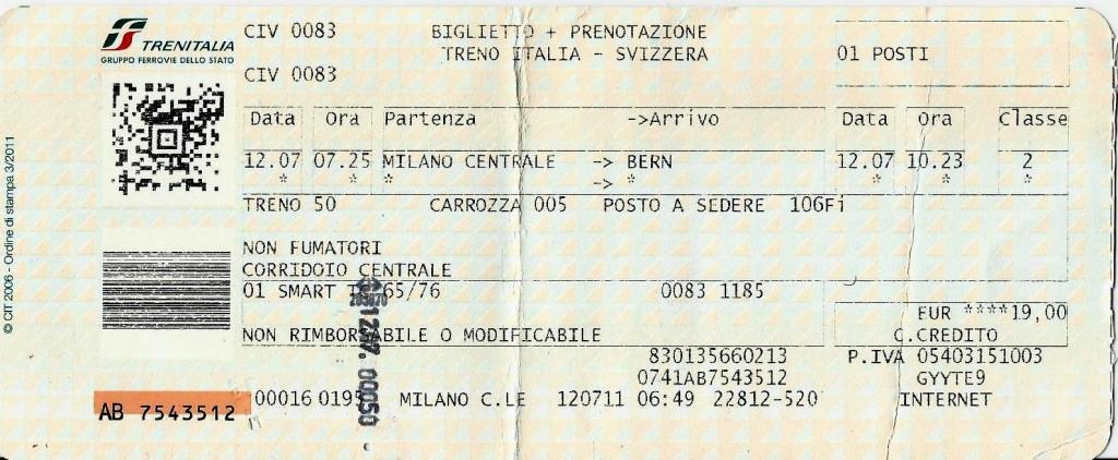 Trenitalia - Milão pra Berna