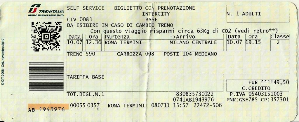 Trenitalia - Roma pra Milão
