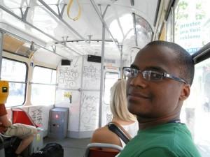 Dentro do tram 22 em Praga