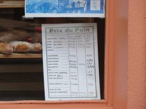 Preço do Pão em Ribeauvillé